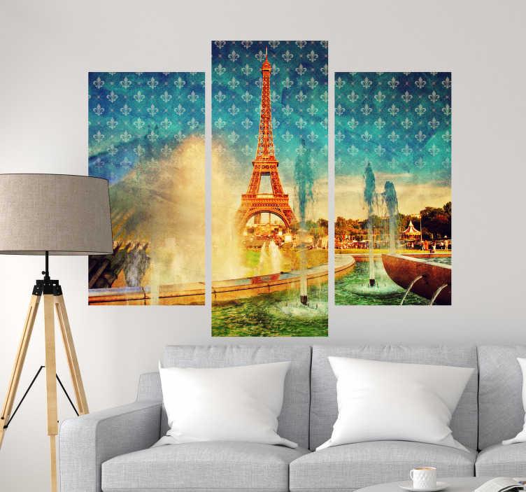 TenStickers. Stickers Monde Paris Vintage. Pour un petit côté vintage dans la déco d'intérieur des amoureux de Paris, cet adhésif photo murale de Paris en tryptique sera parfait dans le salon.