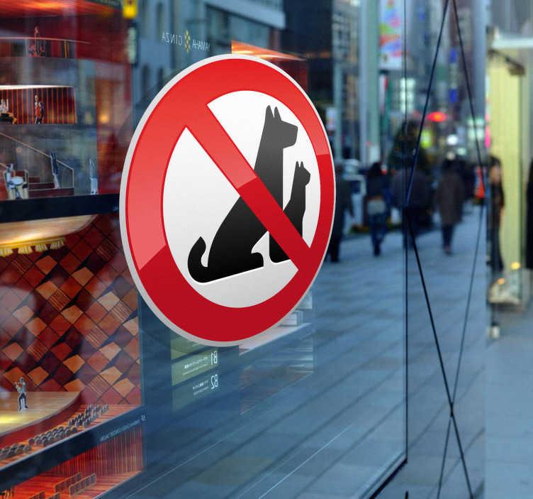 TENSTICKERS. ペットの警告サインステッカー. ビジネスサイン - イヌやネコなどの動物が許可されていないゾーンを示すイラスト。店の前部、窓や商業ゾーン、または人々に規則を知らせるための車のステッカーとして理想的です。