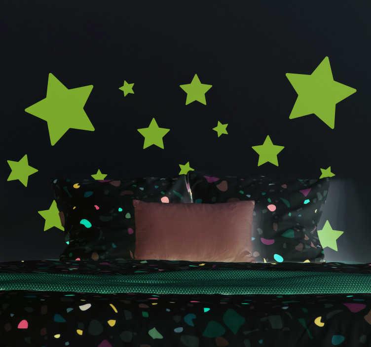 TenStickers. Muurstickers kinderkamer Sterren verschillende maten. Sterren muurstickers voor de kinderkamer. Geniet van muurstickers sterren en muurstickers sterretjes. Muurstickers ruimte en sterren vinyl sticker!
