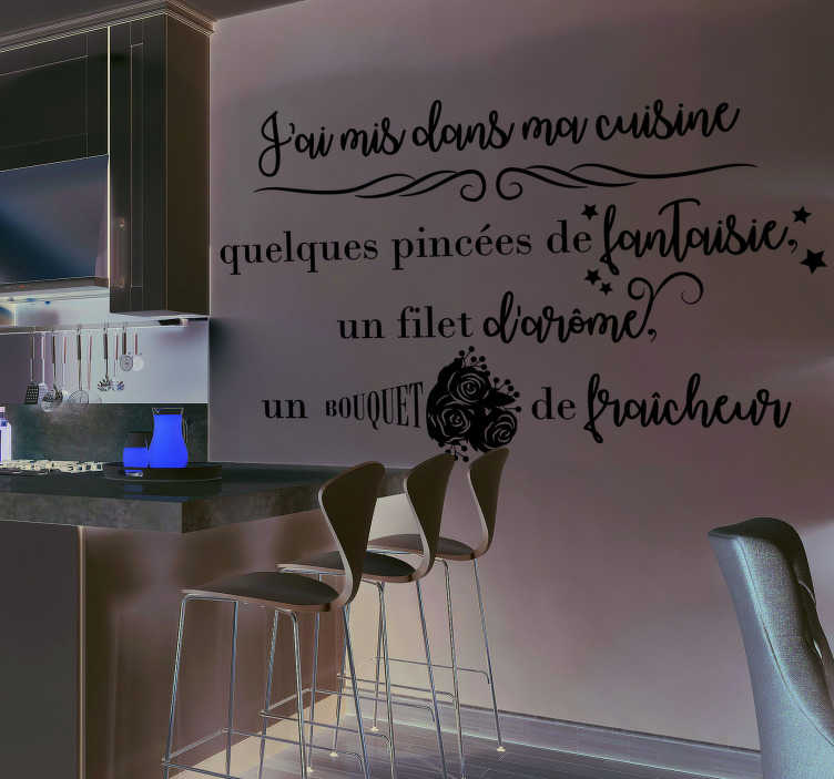 """TenStickers. Sticker Maison J'ai mis dans ma cuisine. """"J'ai mis dans ma cuisine"""" : un beau sticker texte pour votre cuisine, constitué d'une recette fantaisie et motivante au quotidien."""