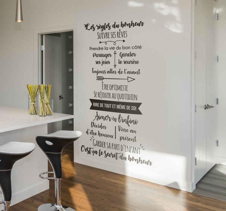 TenStickers. Sticker Maison Les règles du bonheur. Ce sticker mural texte vous permettra de vous rappeler, à vous et à votre famille, les règles essentielles du bonheur tous les jours !
