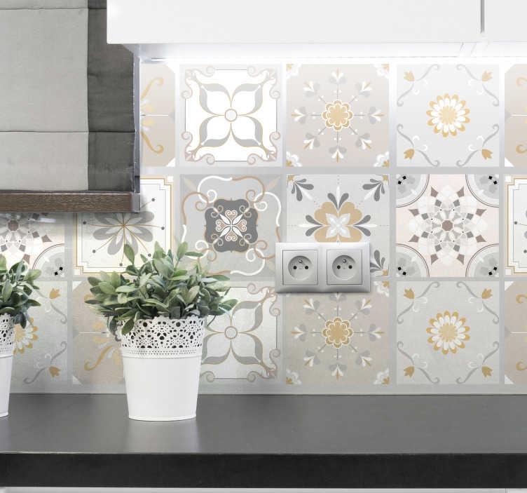 TENSTICKERS. 色付きパターンタイル転送. キッチンの壁やタイルの表面に使用する装飾的な色のパターンのタイルステッカー。異なるデザインのパックに入っています。