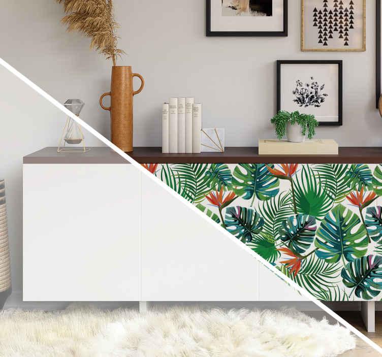 TenVinilo. Vinilo habitación juvenil motivos tropicales. Pegatinas para decorar los muebles de tu hogar formada por un estampado de hojas tropicales sobre un fondo blanco. Descuentos para nuevos usuarios.