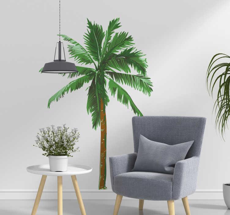 TenStickers. Muursticker boom palmboom schidering. Orginele boompjes muursticker voor slaapkamers. Boom muursticker, palmboompje muursticker voor tropische woonkamer muur decoratie.