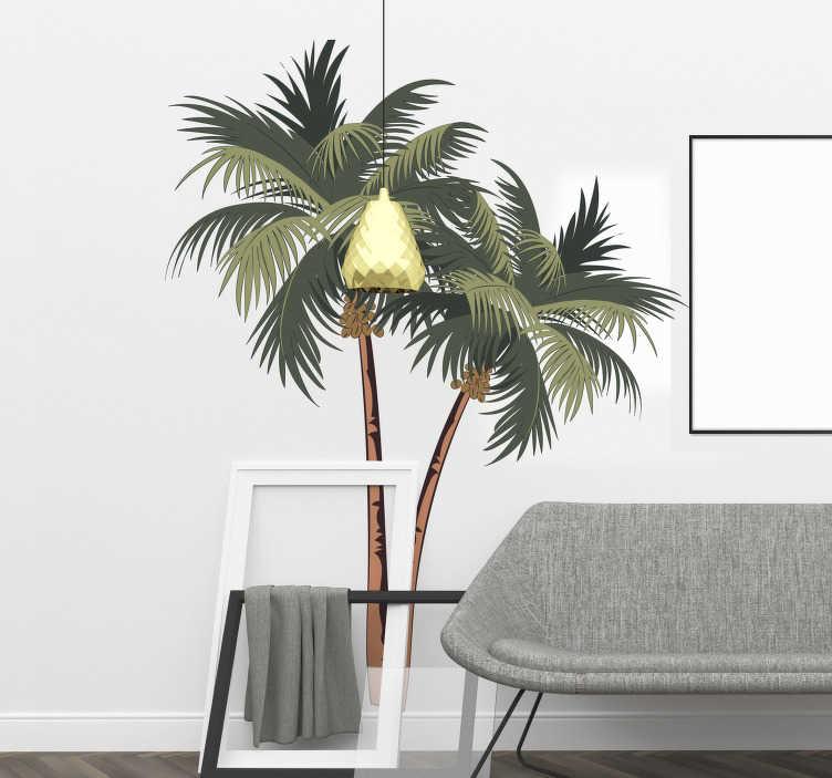 TenVinilo. Vinilo pared dibujo palmeras. Fantástica pegatina adhesiva para darle un toque de frescura al hogar formada por la ilustración de dos palmeras. Vinilos Personalizados a medida.