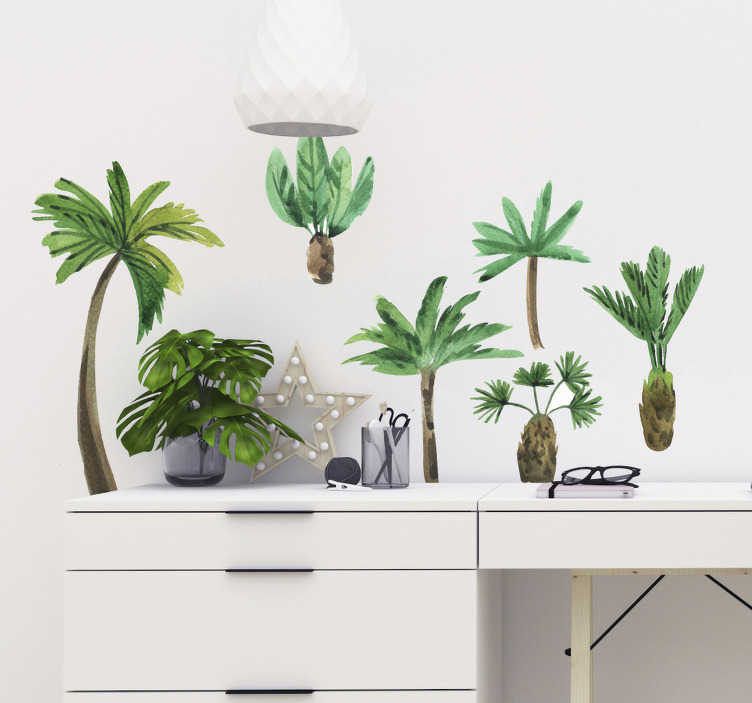 TenStickers. Sticker Maison Styles de Palmiers. Ces stickers de dessins de palmiers au style aquarelle donneront une atmosphère ensoleillée et exotique à votre chambre, salon ou bureau.