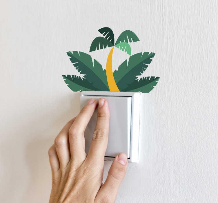 TenVinilo. Vinilo pared hojas de palmera. Pegatina adhesiva para decorar los interruptores de tu hogar formada por la ilustración de unas hojas de palmera. Descuentos para nuevos usuarios.