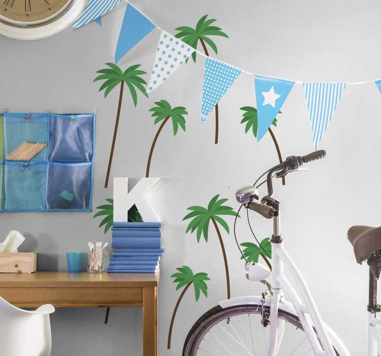 TenStickers. Muursticker boom kleine palmboompjes printje. Unieke palmboom print muursticker voor de woonkamer. Geniet van leuke palmboopjes printje sticker voor de muur. Palmbomen muursticker in alle maten!