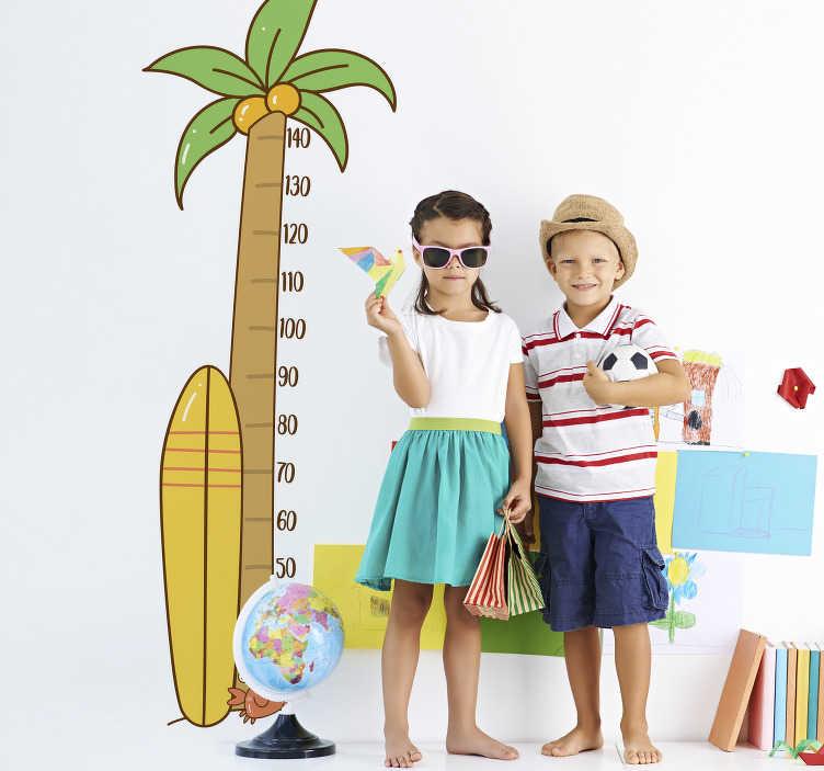 TenStickers. Muurdecoratie stickers meetlat palmboom. Leuke meetlat palmboom muursticker voor kinderen! Meetlat muursticker in alle lengtes. Leuke muursticker meetlat en muursticker palmboom kinderkamer!