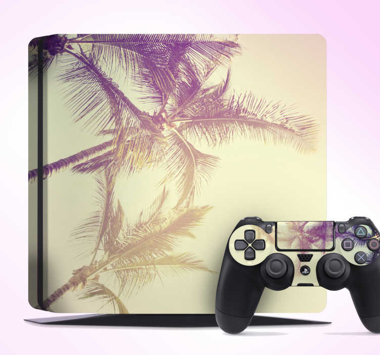 TenVinilo. Vinilo PS4 paisaje palmera. Original pegatina adhesiva para PS4 y controladores formada por la ilustración de un paisaje de palmeras. Atención al Cliente Personalizada.