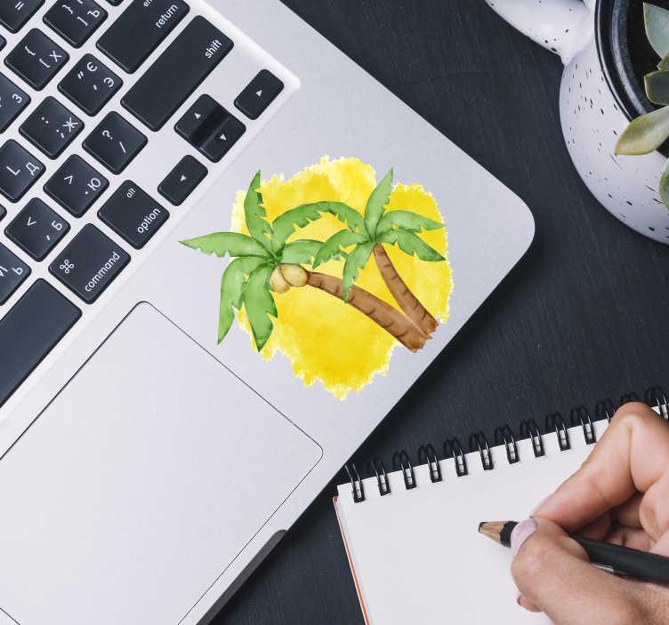 TenVinilo. Vinilo para portátiles palmera. Pegatina adhesiva ideal para decorar la superficie de un portátil o tablet formada por la ilustración de dos palmeras. Envío Express en 24/48h.
