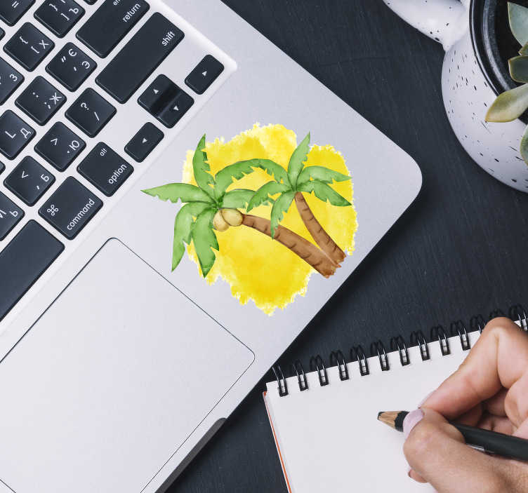 TenStickers. Laptop sticker palmboompjes. Tekening palmboom laptopstickers! Een spontane palmbloom laptopstickers of palmblomen laptop stickers en palmbloom laptop versiering in alle maten!