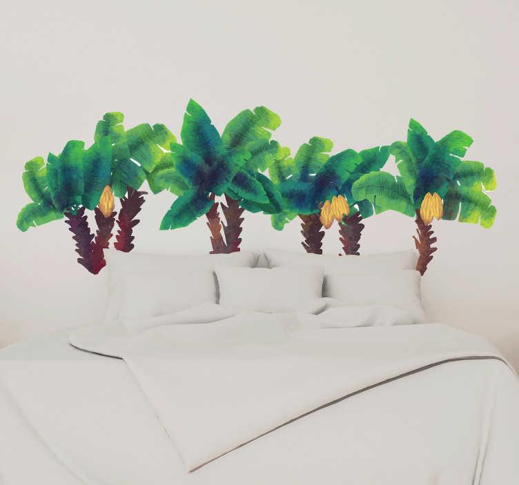 TenStickers. Sticker Maison Palmiers Aquarellés. Pour un dessin autocollant mural original sur votre tête de lit, ces palmiers aquarellés donneront une ambiance exotique à votre chambre !