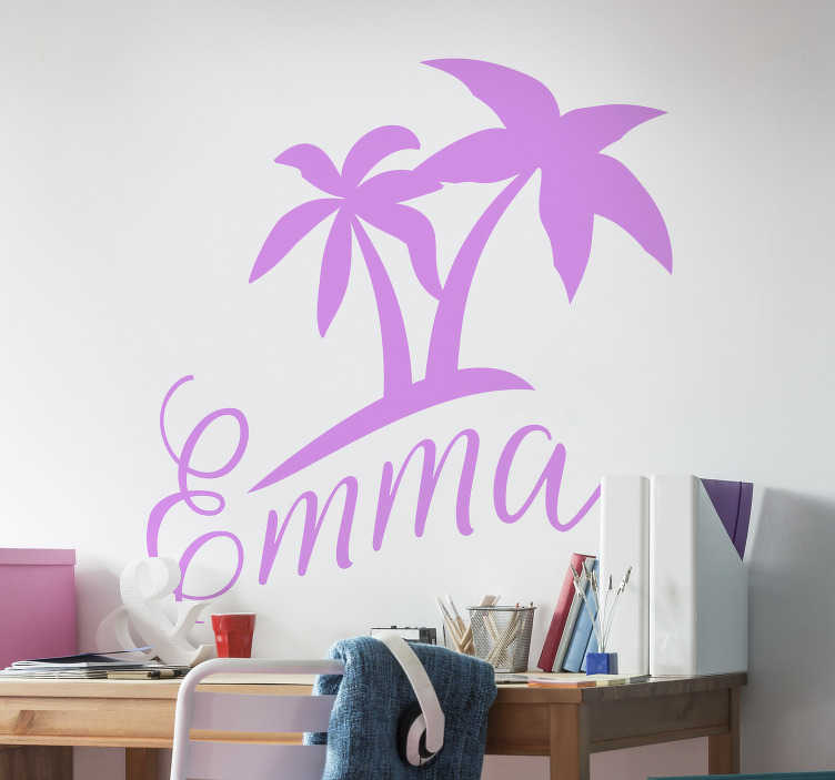 TenStickers. Palm tree with name tree wall decal. An original palm tree silhouette wall sticker with personalisable name.  Available in different colour and sizes. Easy to apply.