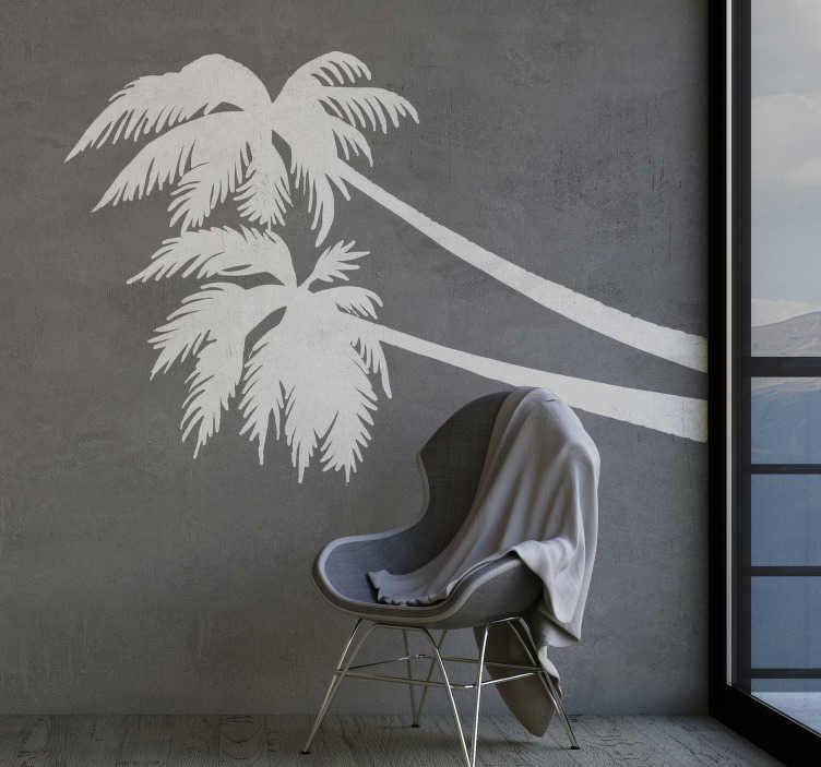 TenStickers. Muursticker boom silhouet palmbomen. Moderne palmboom silhouet muurstickers en silhouet palmbloom muurstickers voor de woonkamer. Muurdecoratie silhouet palmbloom op maat gemaakt!