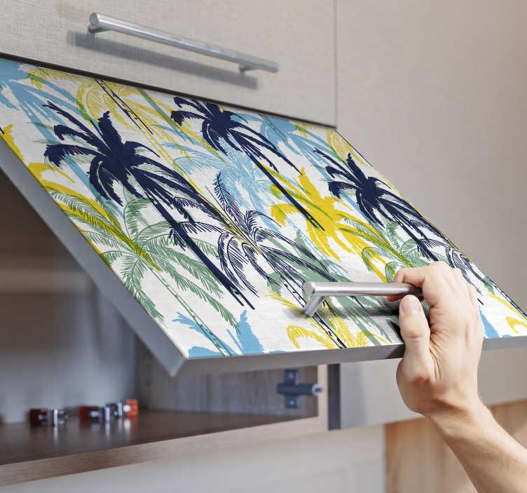 TenStickers. Okleina meblowa Niebieskie i żółte palmy. Planujesz wyjątkowo ozdobić szafki w kuchni? Zobacz nasze naklejki na meble egzotyczne palmy w różnych kolorach. Ponad 50 dostępnych kolorów!