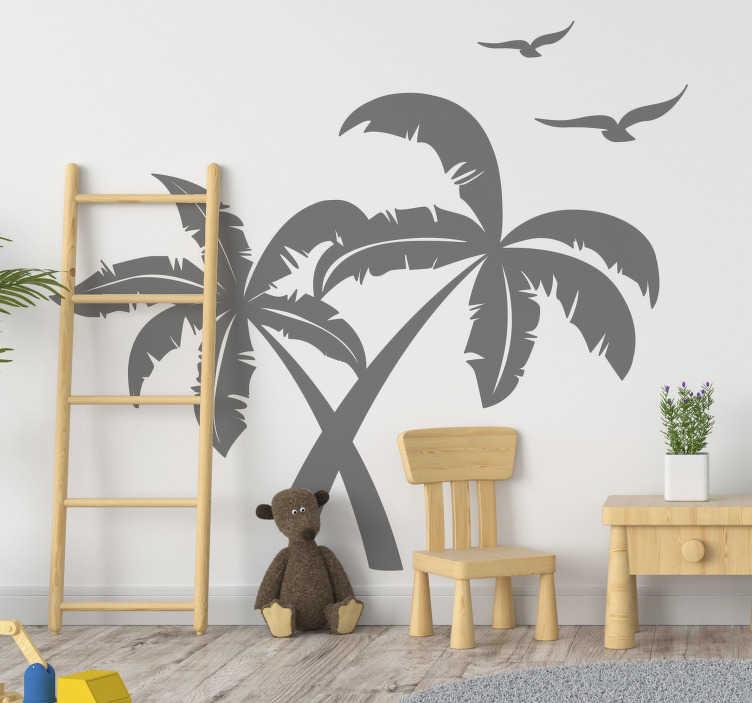 TenStickers. Sticker Maison Silhouettes Palmiers et Oiseaux. Si vous avez envie de donner une touche d'exotisme à votre salon ou à votre chambre, ce sticker de silhouettes de palmiers et d'oiseaux sera parfait !
