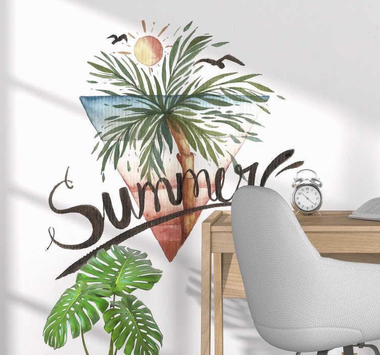 """TenVinilo. Vinilo frase palmeras veraniegas. Pegatina en forma de cono, compuesta por el diseño de un paisaje marítimo y acompañada de la palabra """"Summer"""". Descuentos para nuevos usuarios."""