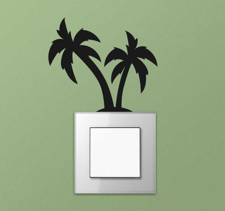 TenStickers. Sticker Interrupteur Silhouettes Palmiers. Pour donner un côté lumineux à vos interrupteurs, quoi de mieux qu'un sticker arbre de silhouettes de palmiers ? +50 Couleurs Disponibles.