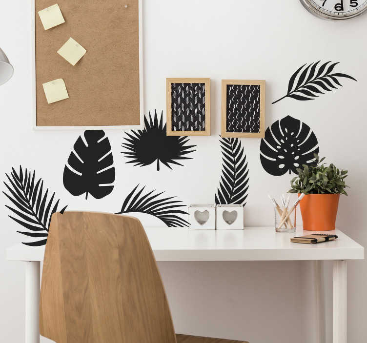 TenStickers. Naklejka na ścianę sylwetka Liście palmowe. Chciałbyś lub chciałabyś nieszablonowo ozdobić ściany w domu? Zobacz nasze naklejki na egzotyczne liście palmy. Spersonalizuj swoją naklejkę!