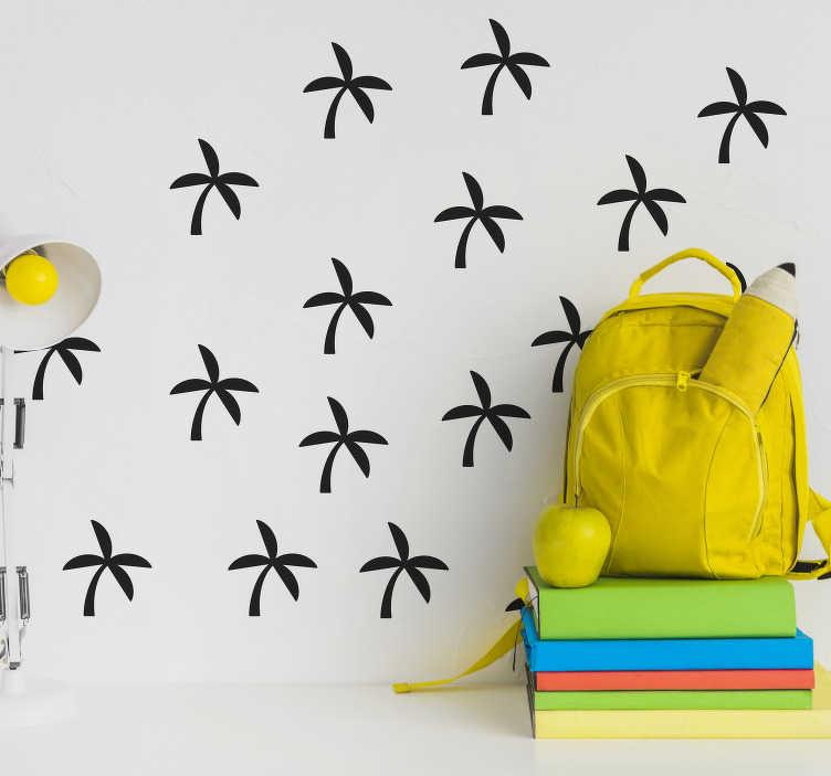 TenVinilo. Vinilo habitación juvenil set palmeras pequeñas. Original pack formado por nueve vinilos adhesivos con el diseño de una palmera de estilo minimalista. Descuentos para nuevos usuarios.
