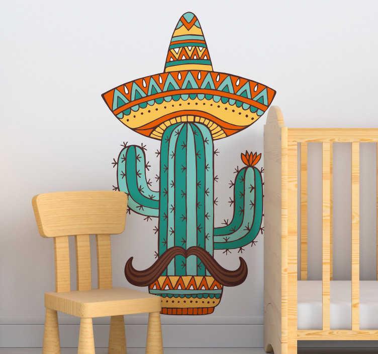 TenVinilo. Vinilo pared cactus mejicano. Vinilo para casa con el dibujo de un cactus con un sombrero mejicano y un bigote. Precios imbatibles y calidad superior.