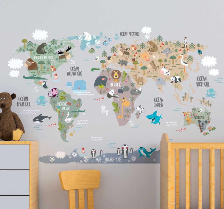 TenStickers. Stickers Monde Animaux du Monde. Envie d'une décoration ludique et pédagogique pour la chambre de votre enfant ? Cet autocollant monde de tous les animaux du globe sera parfait !