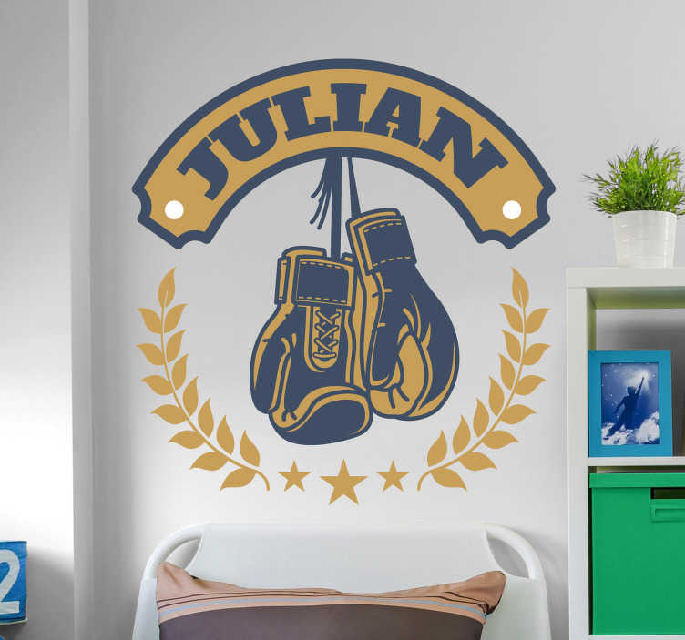 TenStickers. Boxing gloves with name wall decal. Sport wall sticker design of boxing gloves with customisable name Provide the desired name for the design. Available in nay desires size.