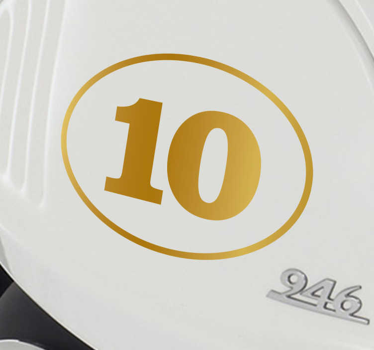 TenStickers. Auto stickers gouden nummer 10. Leuke auto sticker gouden nummer, een leuk idee voor je auto bumper! Deze gouden nummer autosticker is in alle maten en nummers verkrijgbaar!