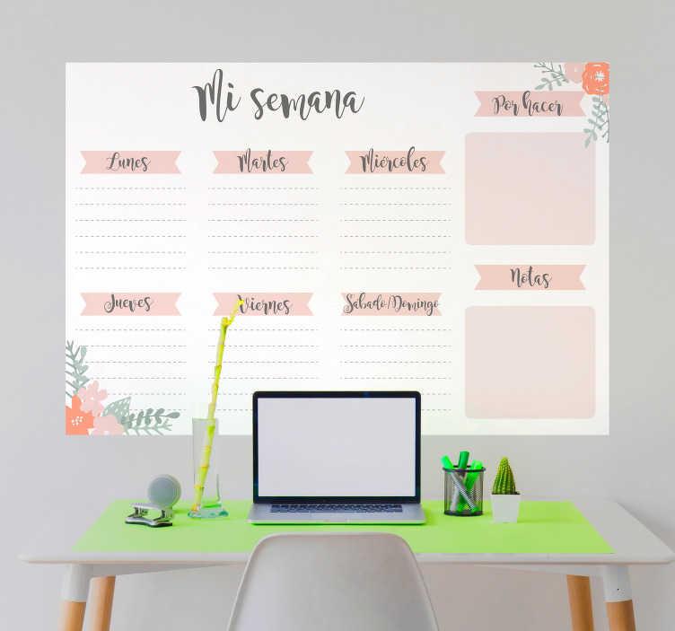 TenVinilo. Vinilo pizarra planificador semanal. Vinilo de pared en forma de pizarra Vileda con un bonito diseño de un calendario semanal con los días de la semana. Descuentos para nuevos usuarios.