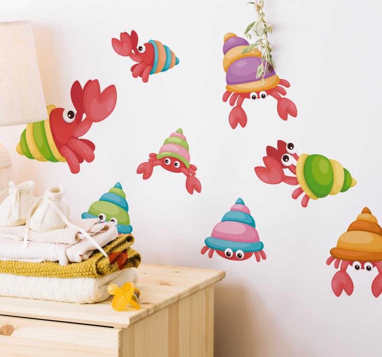 TenVinilo. Vinilo pared set cangrejos divertidos. Pegatina personalizada con el dibujo de ocho cangrejos en distintas medidas, podrás colocar cada ilustración individualmente según te convenga.