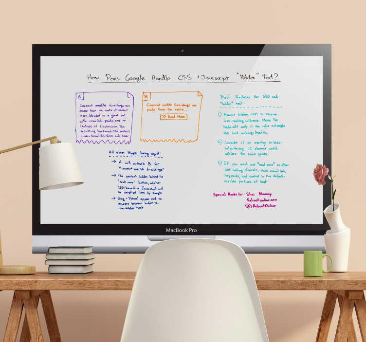 TenStickers. 컴퓨터 화이트 보드 스티커 비즈니스 스티커. 화이트 보드와 분필 보드 스티커의 멋진 벽 스티커. 거실에 대 한 흥미로운 화이트 보드 벽 스티커입니다. 모든 크기의 화이트 보드 스티커!