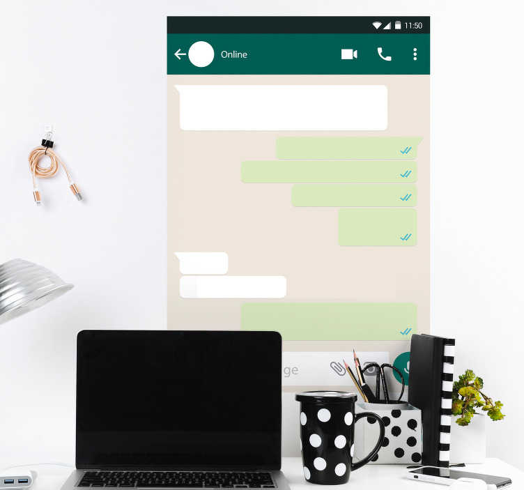 TenStickers. Whatsapp Whiteboard Home Wall Sticker. Decorate your wall with this fantastic WhatsApp themed whiteboard sticker, ready to be written on as much as you like! Easy to apply.