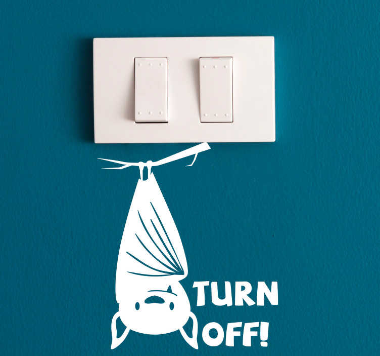 TenStickers. Bat Turn Off Light Switch Sticker. Add some stunning and useful decoration to your light switch with this superb light switch sticker, depicting a bat! Choose your size.
