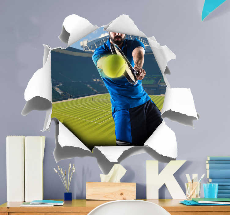 TenStickers. Centre Court Visual Effects Wall Sticker. If you love Tennis then this visual effects sticker, depicting Wimbledon and a man playing Tennis, is perfect for you! Easy to apply.