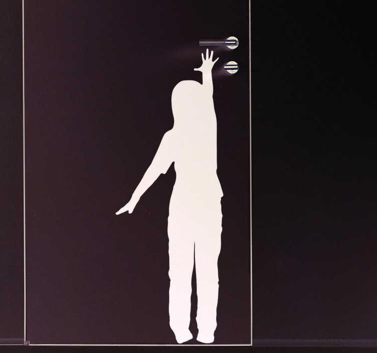 TenStickers. Sticker Porte Silhouette d'enfant. Puisque la décoration passe aussi par les portes, cet autocollant silhouette d'enfant atteignant la poignée de porte sera idéal pour votre intérieur.