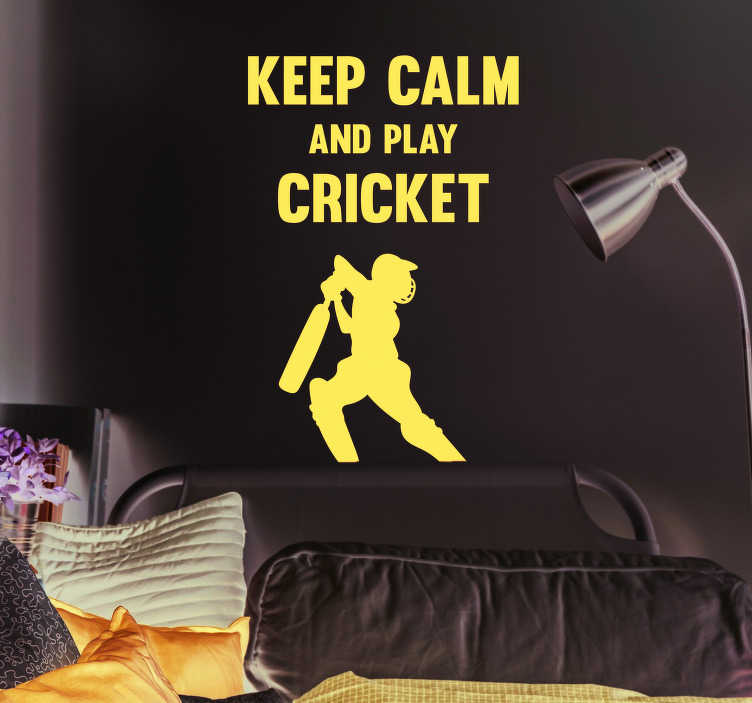 TenStickers. Cricket Keep Calm Home Wall Sticker. Pay tribute to the magic of cricket with this fantastic, cricket themed sports sticker! Just keep calm and play cricket! Available in 50 colours.