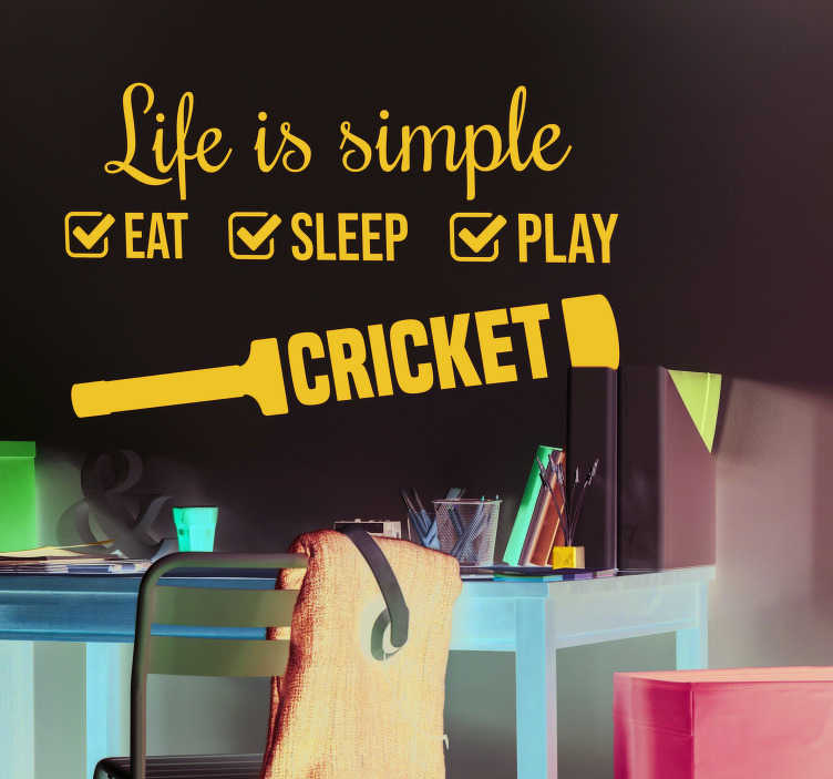 TenStickers. Cricket Simple Life Home Wall Sticker. Showcase your love of cricket to the world with this fantastic sports sticker, depicting the daily routine of all cricket fans!