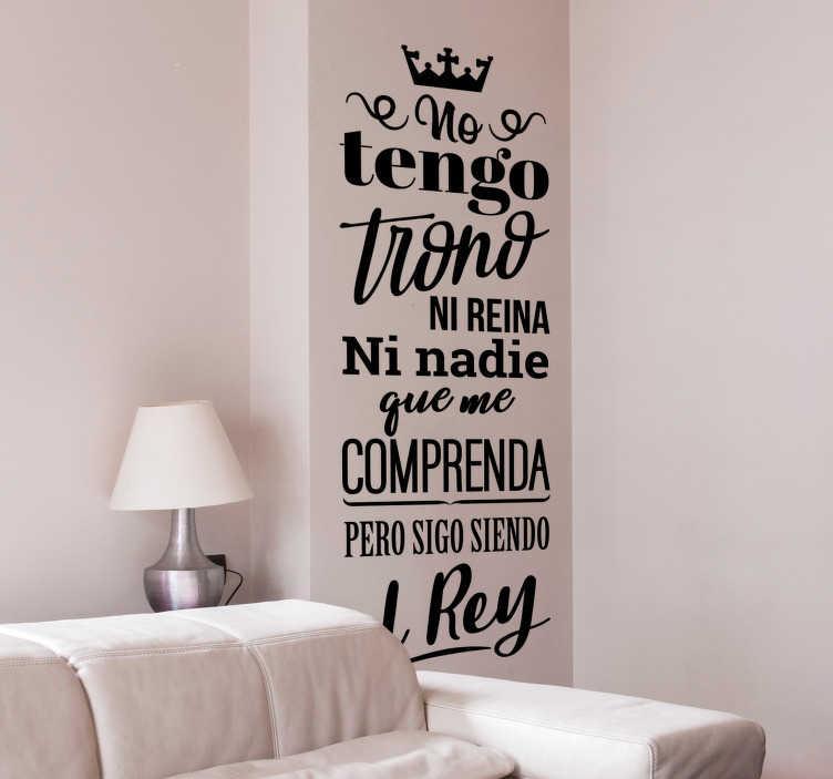 """TenVinilo. Vinilo pared El Rey canción. Original pegatina formada por una parte de la canción """"El rey"""" del cantante mexicano Vicente Fernández. Promociones Exclusivas vía e-mail."""