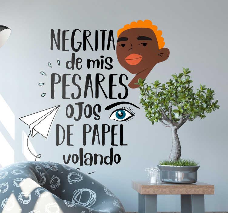 """TenVinilo. Vinilo pared El Son de la Negra. Pegatina para salón formada por una parte de la canción """"El Son de la Negra"""" del grupo de música """"Mariachi Vargas. Descuentos para nuevos usuarios."""