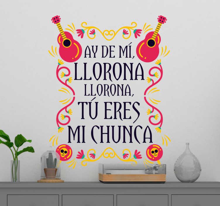 """TenVinilo. Vinilo frase La Llorona. Pegatina para salón formada por una parte de la canción """"La Llorona"""" de la cantante Chavela Vargas. Descuentos para nuevos usuarios."""