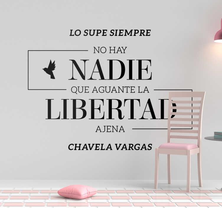 TenVinilo. Vinilo frase Lo supe siempre. Original pegatina formada por una frase célebre de la cantante mexicana Chavela Vargas. Atención al Cliente Personalizada.