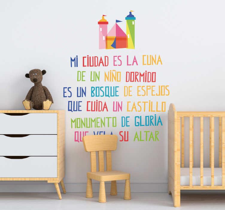 """TenVinilo. Vinilo colorido pared Mi ciudad. Colorida pegatina infantil formada por una parte de la canción """"Mi ciudad"""" del cantante mexicano Luis Miguel. +10.000 Opiniones satisfactorias."""