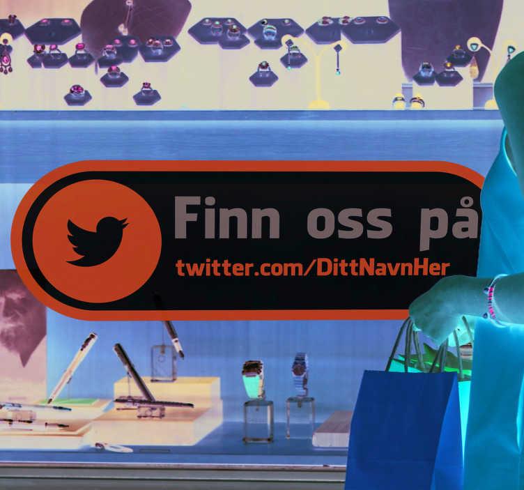 Tenstickers. Finn oss på twitter business klistremerke. Vinduet dekal for å oppmuntre kunder til å besøke din sosiale medier konto. Iøynefallende design som vil sørge for at du er til stede online.