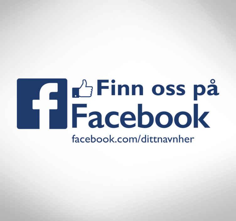 Tenstickers. Finn oss på facebook business klistremerke. Informativ dekal for butikkvinduet for å la alle vite at de også kan kontakte deg på facebook. Anti-boble vinyl.