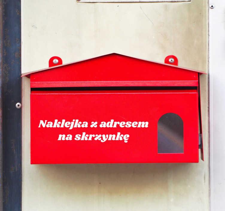 TenStickers. Naklejka na ścianę do garażu Adres na skrzynkę pocztową. Naklejka na skrzynkę pocztową z adresem w formie napisu zawierającego adres lub tekst mówiący o zakazie wrzucania ulotek do skrzynki na listy.