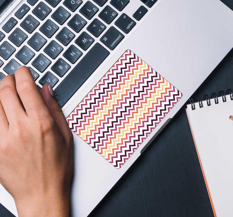 TenVinilo. Vinilo trazo patrón para touchpad. Pegatina para el touchpad de tu portátil formada por un patrón de líneas de colores sobre un fondo blanco. +10.000 Opiniones satisfactorias.