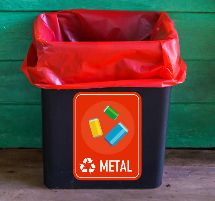TenStickers. Naklejka z rysunkiem Segregacja metalu. Użyteczne naklejki na kosze do segregacji metalu bio z pewnością pomogą Ci i innym odpowiednio segregować śmieci zarówno w domu jak i w firmie.