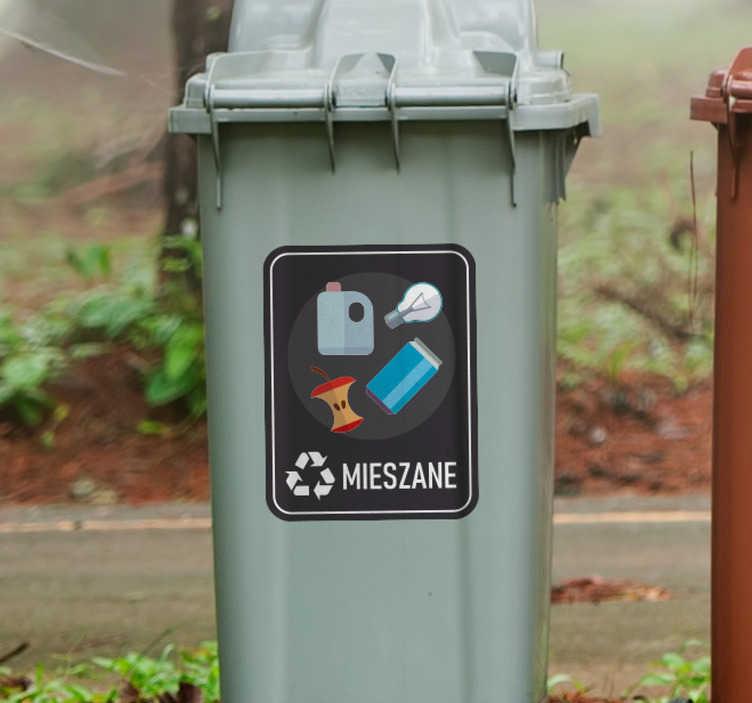TenStickers. Naklejka na ścianę różne oznaczenia Śmieci mieszane. Użyteczne naklejki na kosze do segregacji śmieci z pewnością pomogą Ci i innym odpowiednio segregować śmieci zarówno w domu jak i w firmie.