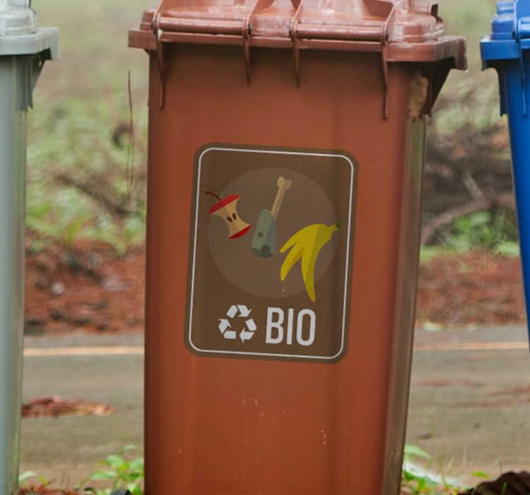 TenStickers. Naklejka z rysunkiem Segregacja odpadów BIO. Użyteczne naklejki na kosze do segregacji odpadów bio z pewnością pomogą Ci i innym odpowiednio segregować śmieci zarówno w domu jak i w firmie.